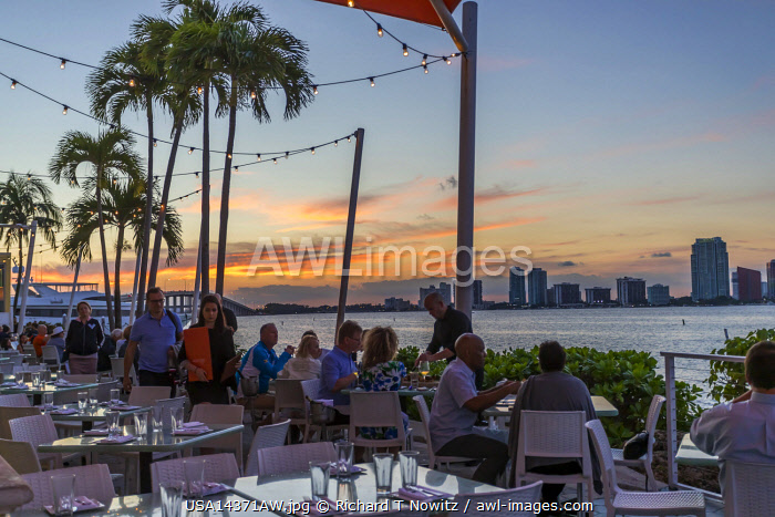 USA, Florida, Miami skyline from Rusty Pelican Restaurant.