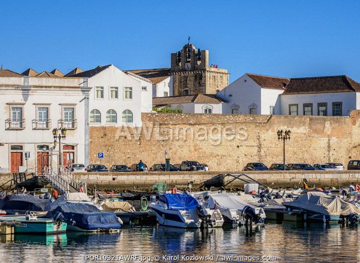 View over Marina towards Se Cathedral, Faro, Algarve, Portugal