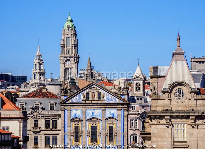 View towards Santo Antonio dos Congregados Church and City Hall Tower, Porto, Portugal