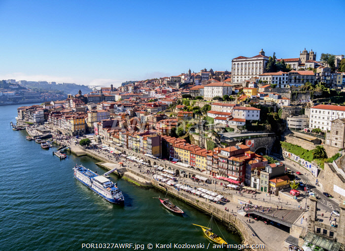 Douro River and Cityscape of Porto, elevated view, Portugal