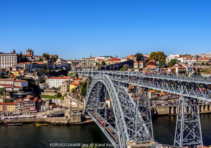 Dom Luis I Bridge, elevated view, Porto, Portugal