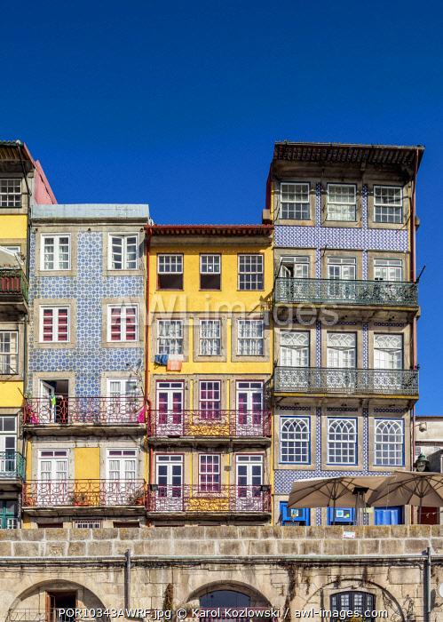 Colourful houses at Cais da Ribeira, Porto, Portugal