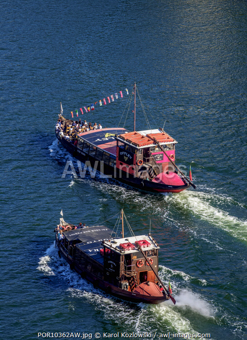 Boats on Douro River, elevated view, Porto, Portugal