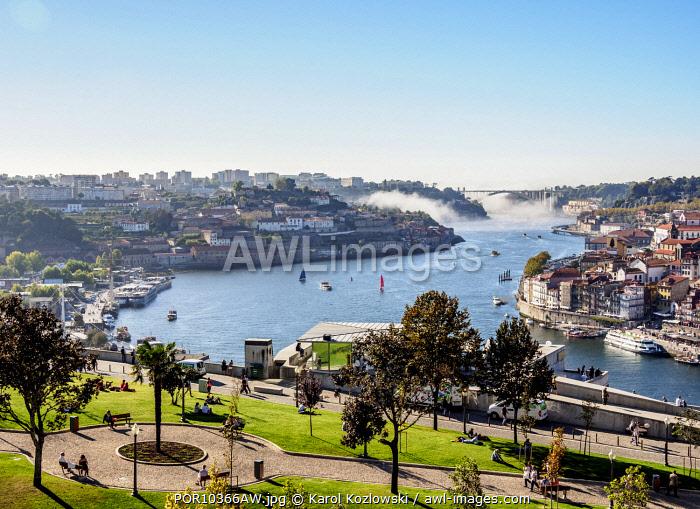 View over Jardim do Morro towards Douro River, Vila Nova de Gaia, Porto, Portugal