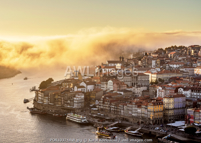 Douro River and Cityscape of Porto at sunset, elevated view, Portugal