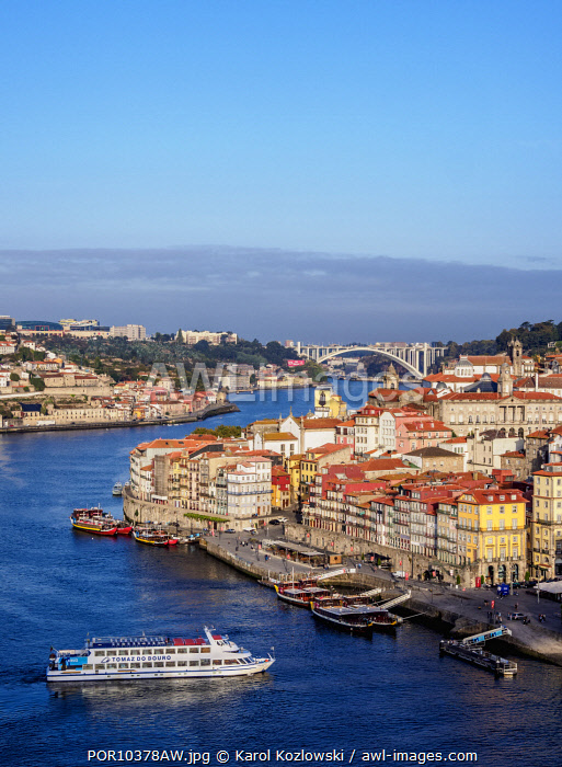 Douro River and Cityscape of Porto, elevated view, Portugal