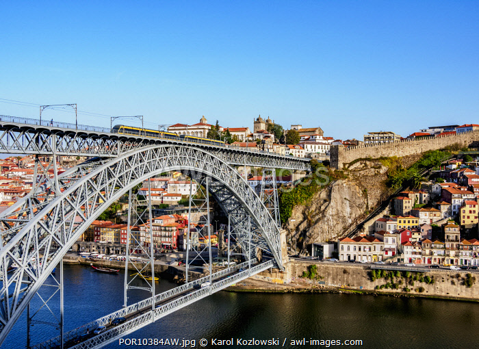 Dom Luis I Bridge, elevated view, Porto, Portugal