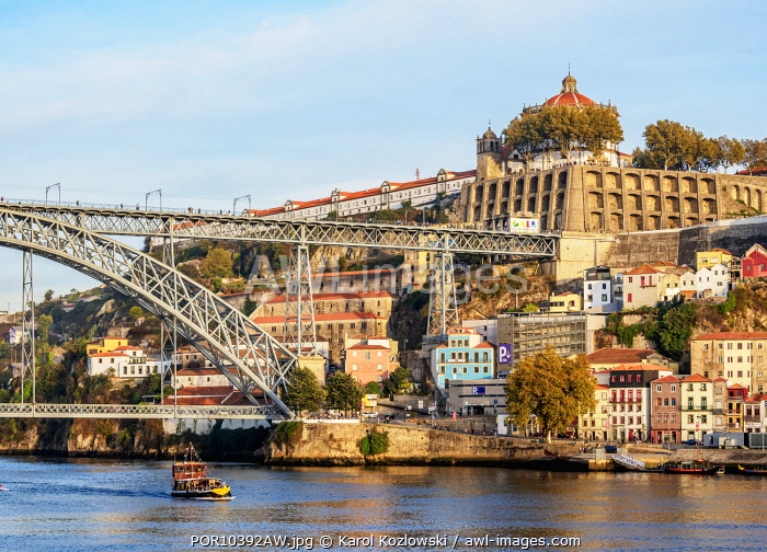 View towards Vila Nova de Gaia, Dom Luis I Bridge and Monastery of Serra do Pilar, Porto, Portugal