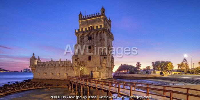 Belem Tower at dusk, Lisbon, Portugal