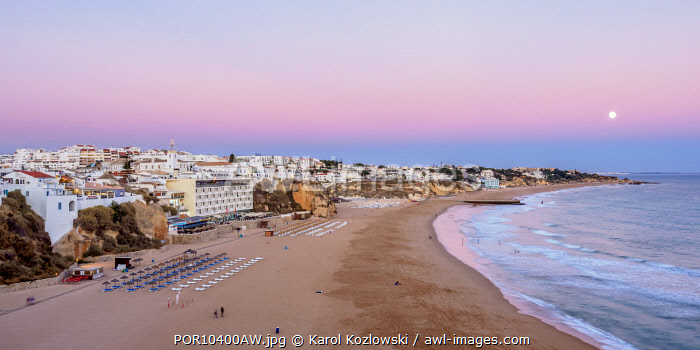 Paneco Beach at dusk, elevated view, Albufeira, Algarve, Portugal