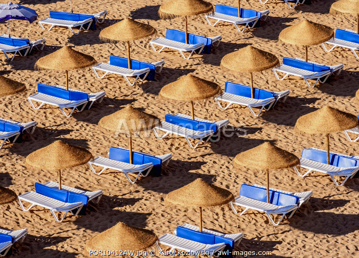 Sunbeds at Paneco Beach, elevated view, Albufeira, Algarve, Portugal