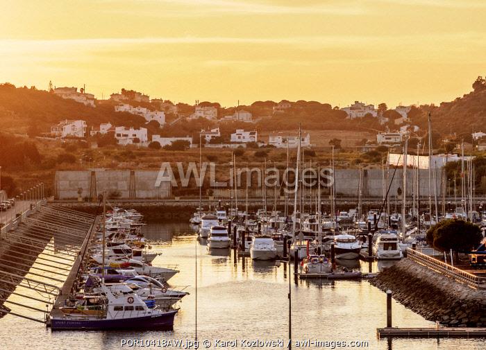 Marina in Albufeira at sunset, Algarve, Portugal