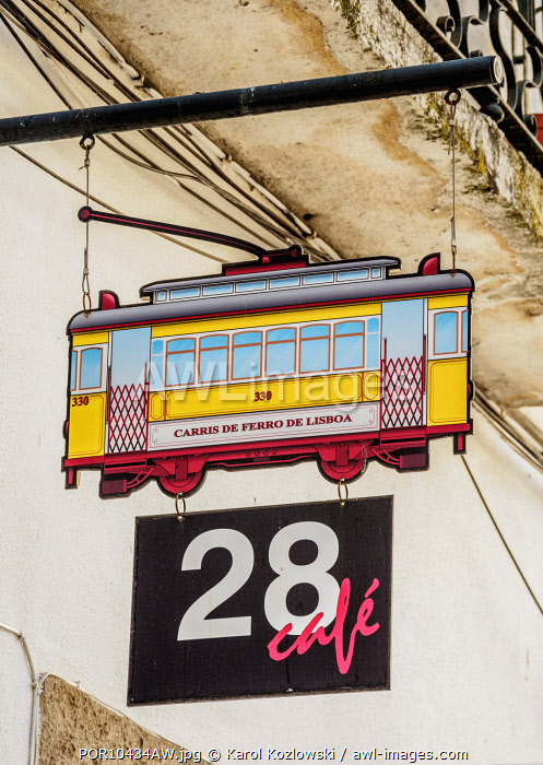 28 Cafe Sign, Alfama, Lisbon, Portugal