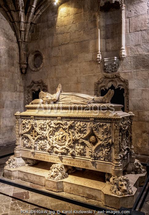 Vasco da Gama Tomb, Church of Santa Maria, Jeronimos Monastery, Belem, Lisbon, Portugal