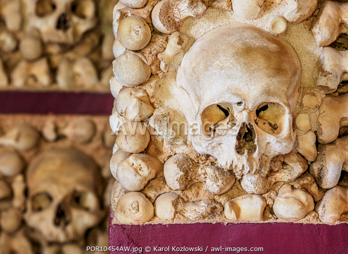 Chapel of Bones, interior, Carmo Church, Faro, Algarve, Portugal