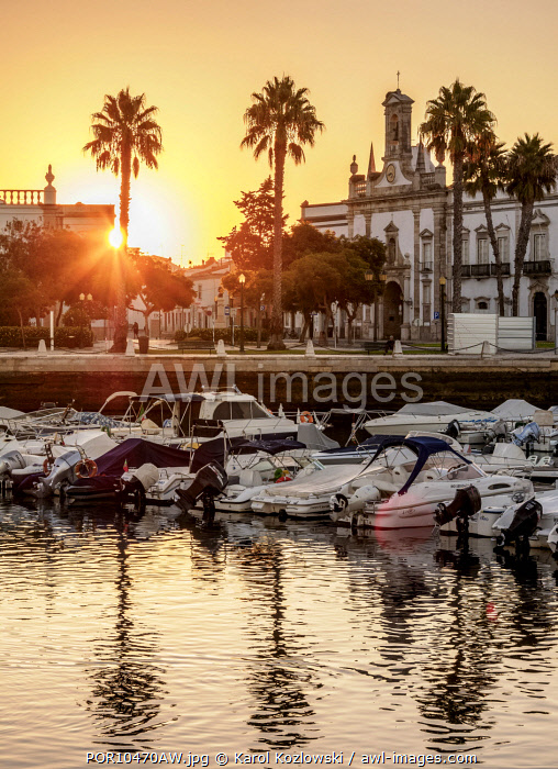 View over Marina towards Arco da Vila at sunrise, Faro, Algarve, Portugal