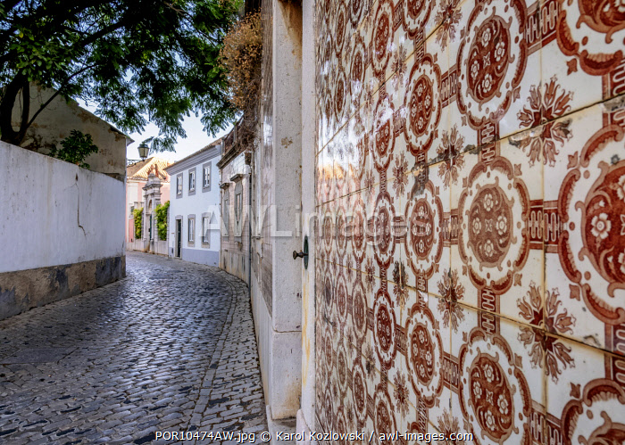 Azulejos on the street of Faro, Algarve, Portugal