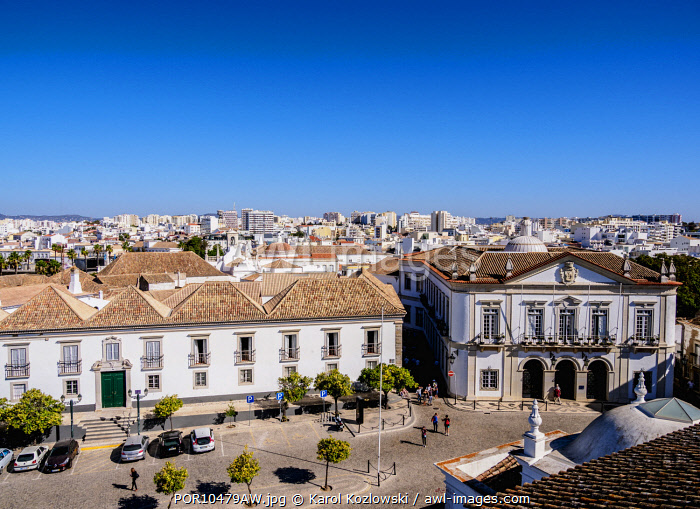 Episcopal Palace and City Hall at Largo da Se, elevated view, Faro, Algarve, Portugal
