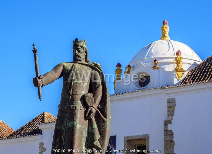 Afonso III Statue in front of the Monastery of Nossa Senhora da Assuncao, Faro, Algarve, Portugal