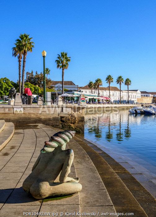 Contemporary sculpture by the marina in Faro, Algarve, Portugal