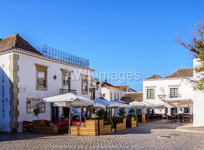 Restaurants and Cafes at Praca Afonso III, Faro, Algarve, Portugal
