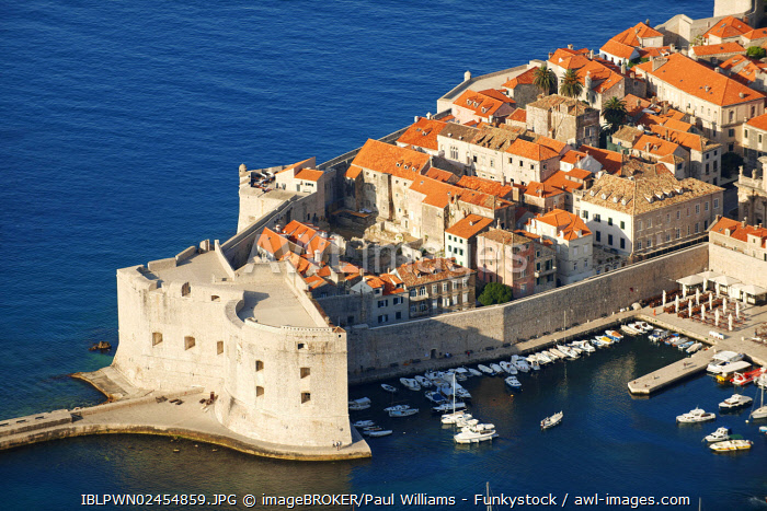 Aerial view of Dubrovnik old town port, Croatia, Europe