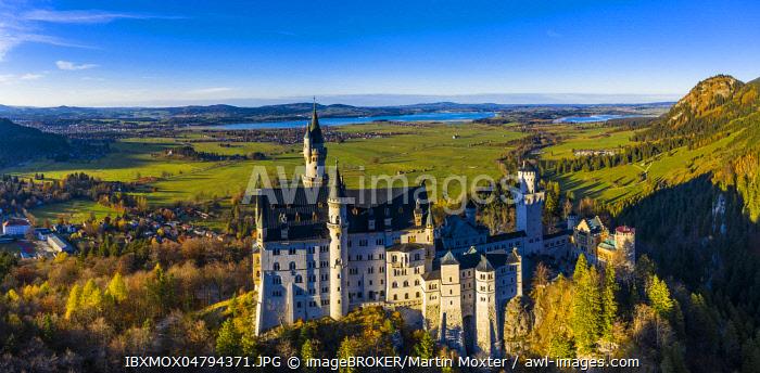Neuschwanstein Castle in autumn, Forggensee in the back, Schwangau, Ostallgau, Allgau, Swabia, Upper Bavaria, Bavaria, Germany