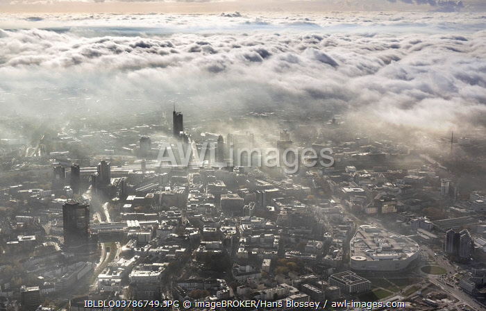 Clouds over the city centre of Essen, aerial view, Essen, Ruhr area, North Rhine-Westphalia, Germany, Europe