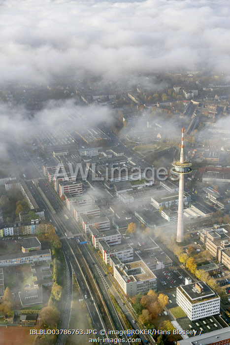 ETEC, Essen Technology and Development Centre, and television tower through the clouds, aerial view, Essen, Ruhr area, North Rhine-Westphalia, Germany, Europe