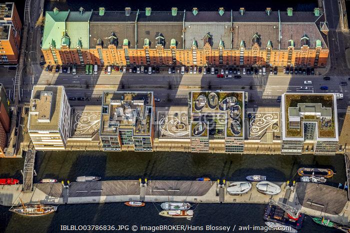 Aerial view, Kesselhaus, Am Sanddornkai, Speicherstadt, HafenCity, Hamburg, Germany, Europe