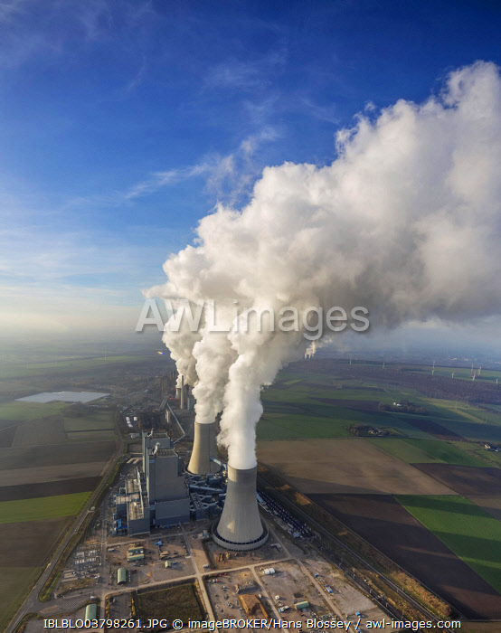Aerial view, Frimmersdorf Power Station, RWE, Neurath Power Station, Grevenbroich, North Rhine-Westphalia, Germany, Europe