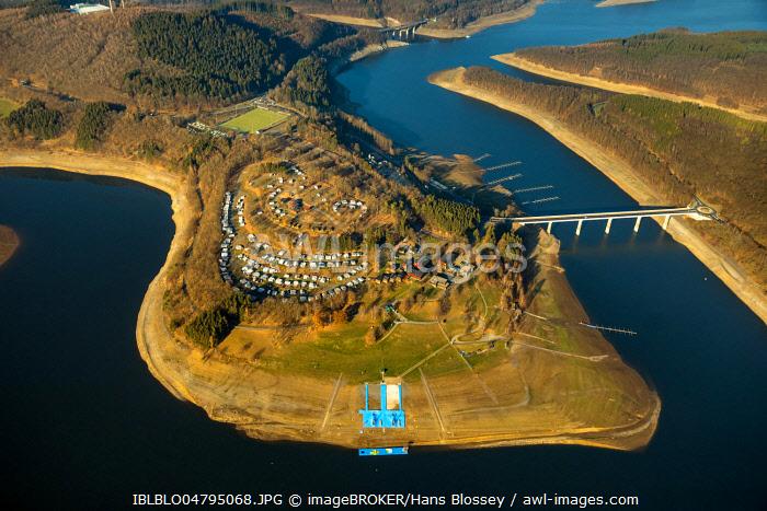 Aerial view, Biggesee, Biggetalsperre, reservoir at low water, water shortage, Howald, Olpe, Sauerland, North Rhine-Westphalia, Germany, Europe