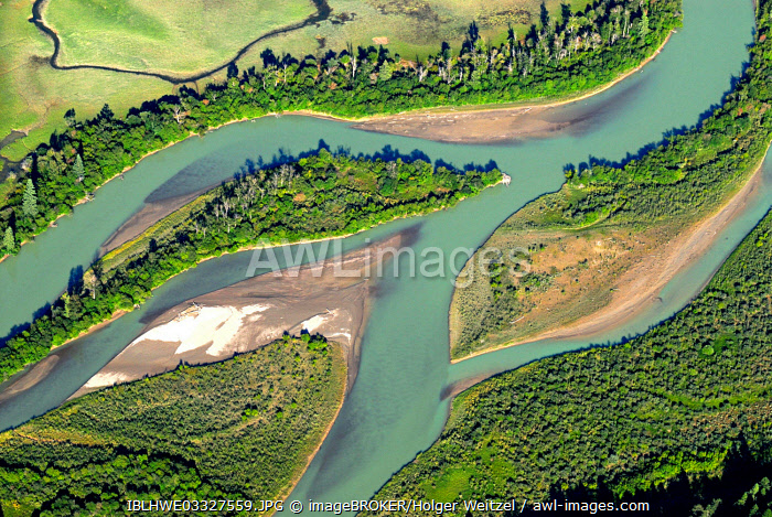 Aerial view, course of the Columbia River, Invermere, British Columbia Province, Canada, North America