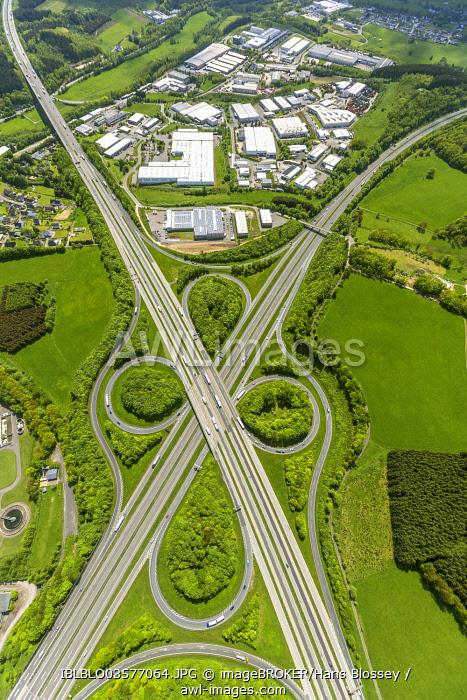Aerial view, industrial estate at the Wenden motorway junction, Wenden A45, A4, Wenden, North Rhine-Westphalia, Germany, Europe