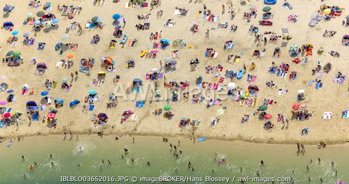 Aerial view, sandy beach at Silbersee II lake with people swimming and sunbathing, Sythen, Haltern am See, North Rhine-Westphalia, Germany, Europe