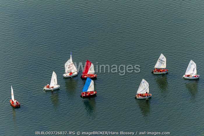 Aerial view, sailing school on Lake Kemnade, Bochum, Ruhr district, North Rhine-Westphalia, Germany, Europe