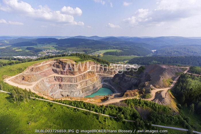 Aerial view, quarry with a quarry lake, Rösenbeck, Brilon, North Rhine-Westphalia, Germany, Europe