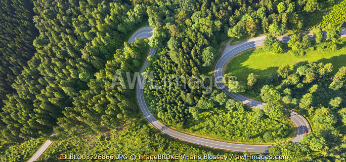 Aerial view, sharp curves on the road L870, Hoppecke, Brilon, North Rhine-Westphalia, Germany, Europe