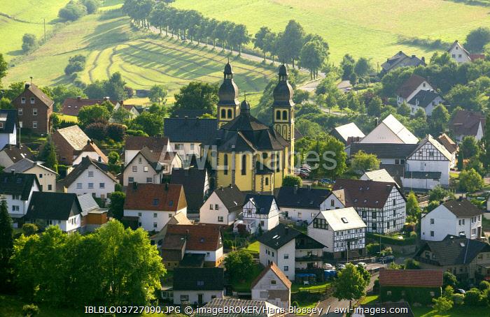 Aerial view, Church of St. Mary Magdalene, Padberg, Marsberg, North Rhine-Westphalia, Germany, Europe