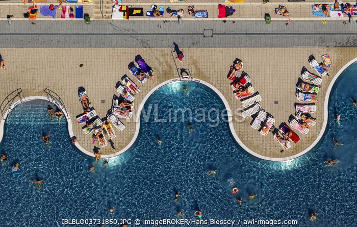 Annen open-air swimming pool, aerial view, Annen, Witten, North Rhine-Westphalia, Germany, Europe