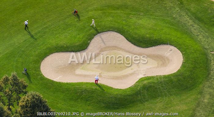 Aerial view, golf course, Golfclub Op de Niep, Neukirchen-Vluyn, North Rhine-Westphalia, Germany, Europe