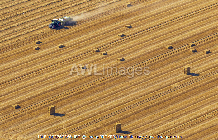 Aerial view, straw bales and tractor in a cornfield, North Rhine-Westphalia, Germany, Europe
