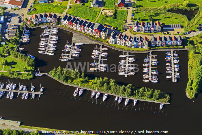 Aerial view, Greifswald marina on the Ryck River, colourful row of houses, Greifswald, Mecklenburg-Western Pomerania, Germany, Europe