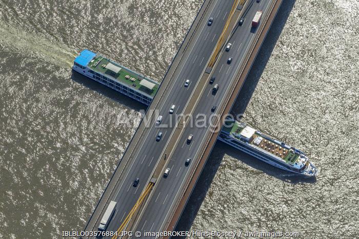 Aerial view, cruise ship on the Rhine underneath the Rhine bridge of motorway A42, Duisburg, Ruhr district, North Rhine-Westphalia, Germany, Europe