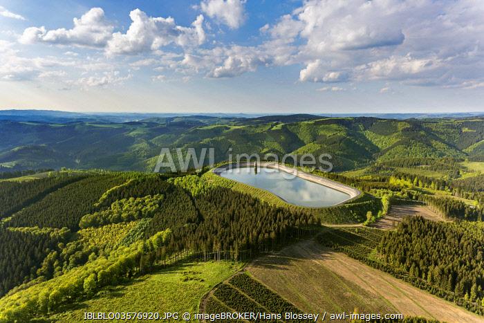 Aerial view, upper reservoir, Roenkhausen pump storage power plant, Rönkhausen, Finnentrop, North Rhine-Westphalia, Germany, Europe