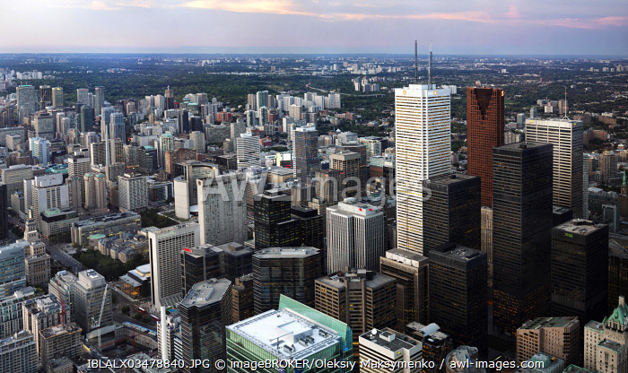 Panoramic view of the city of Toronto downtown at dusk, Toronto, Ontario Province, Canada, North America