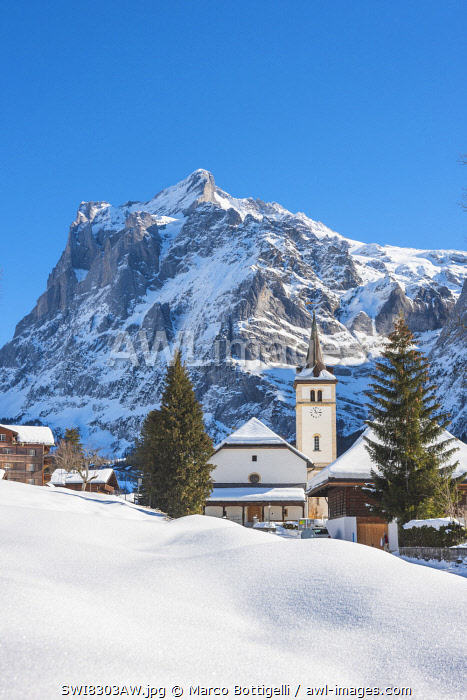 Grindelwald and Wetterhorn, Berner Oberland, canton of Bern, Switzerland