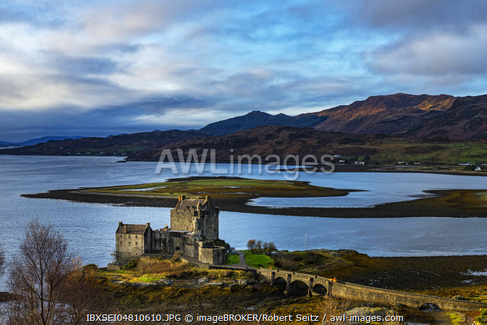 Eilean Donan Castle in the foreground with Loch Duich in the background, west Highlands, Scotland, United Kingdom, Europe