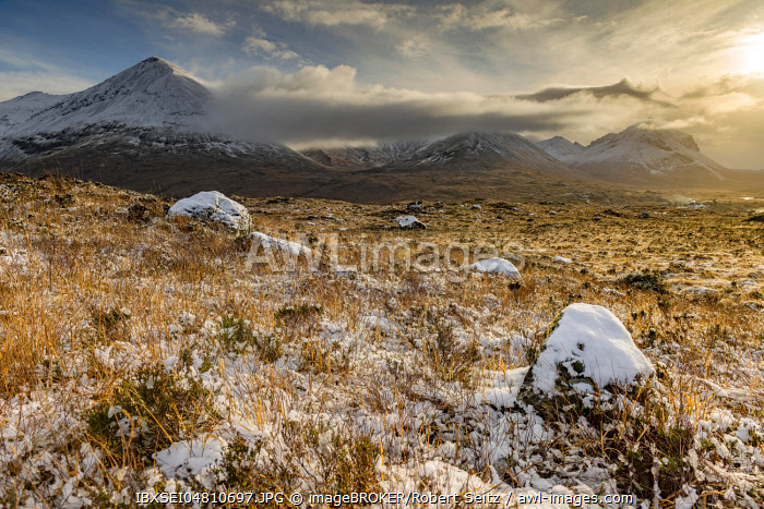Snowy mountain tops of Ben Lee with clouds in Highland landscape, Sligachan, Portree, Isle of Skye, Scotland, United Kingdom, Europe