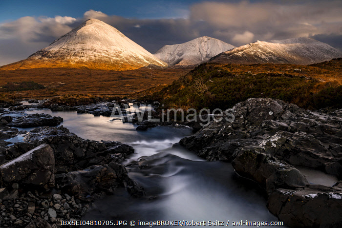 AltDearg Mor with snow-covered peaks of the Cullins Mountains in Highland landscape, Sligachan, Portree, Isle of Skye, Scotland, United Kingdom, Europe
